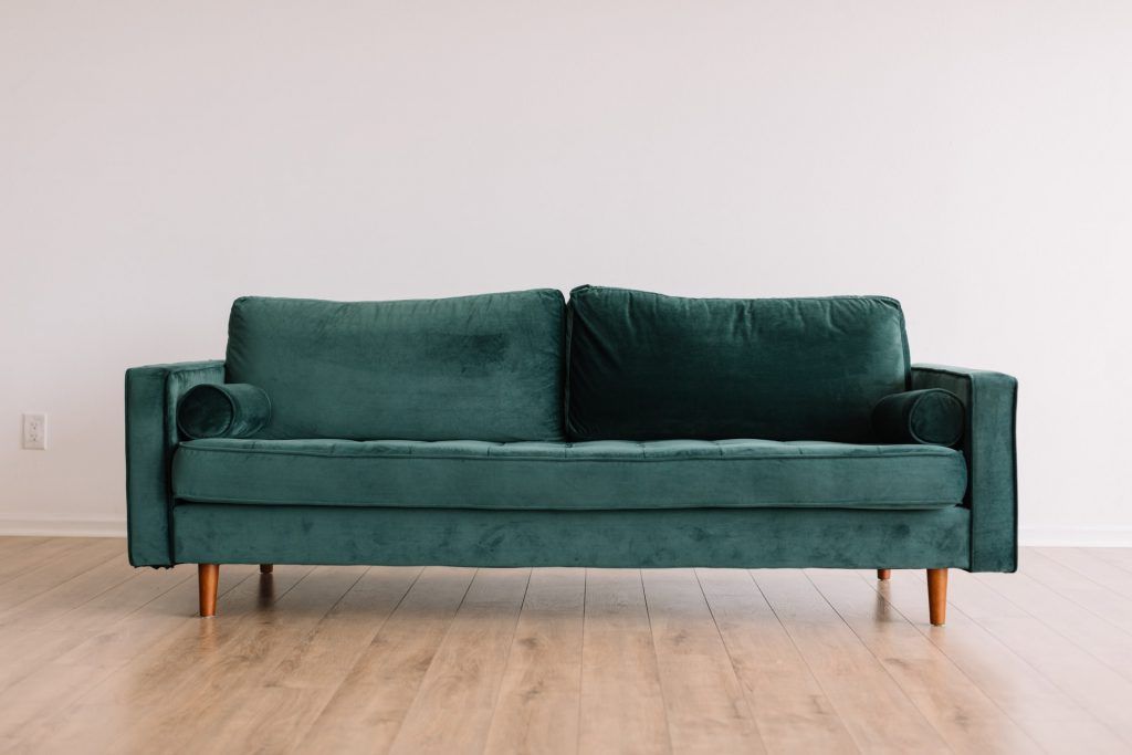 Green Upholstery Fabric Couch