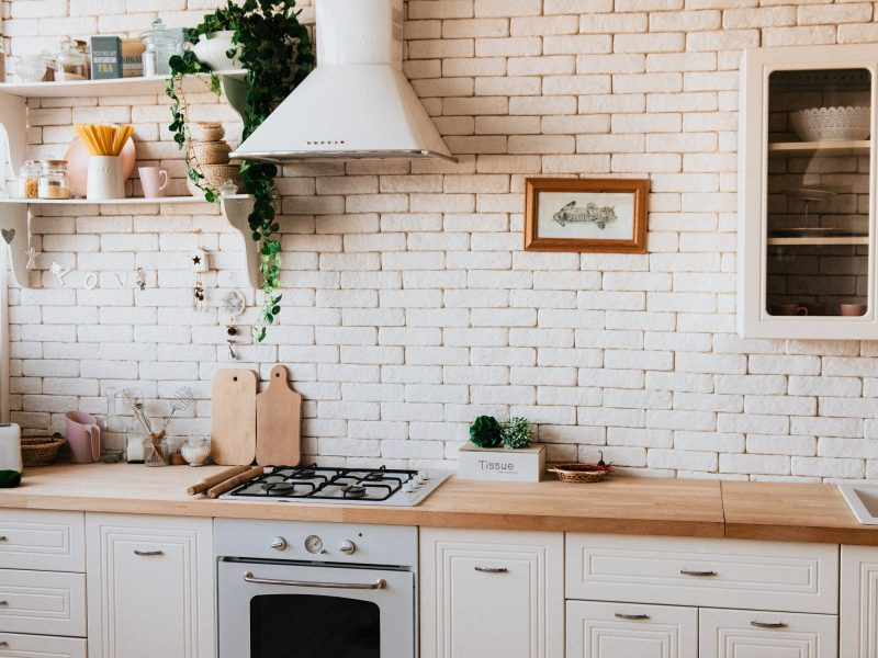 White Kitchen With Wooden Countertops