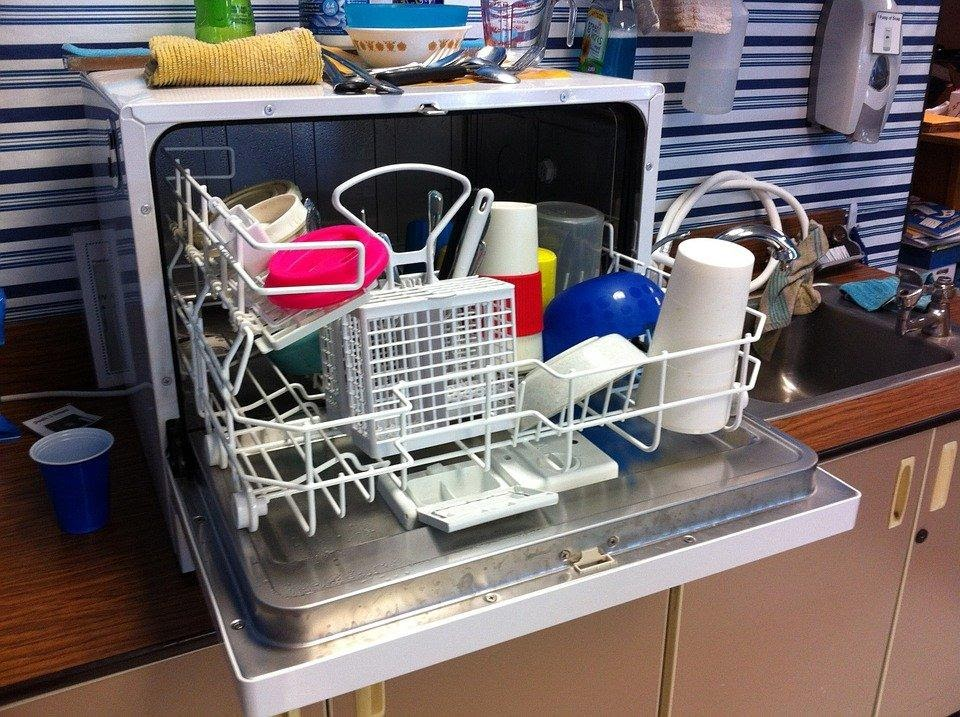 Cluttered Dishwasher