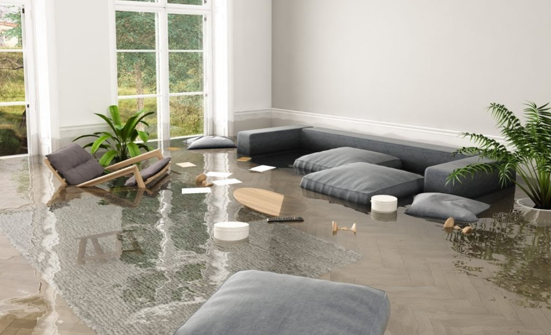 Furniture Floating In Flooded House