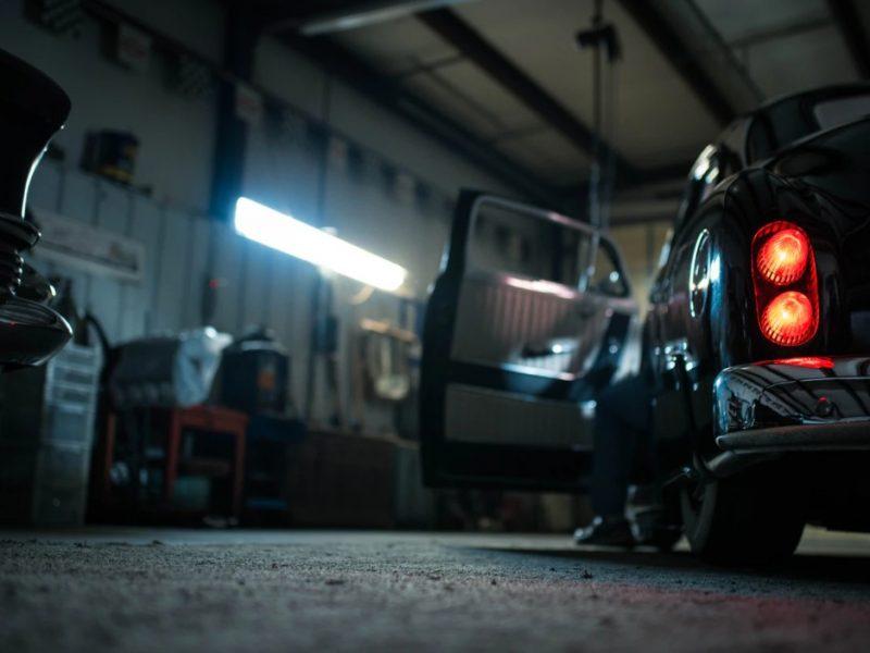 Black Car Parked In A Garage