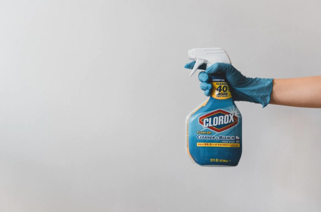 Person Holding Blue And White Clorox Bleach Bottle