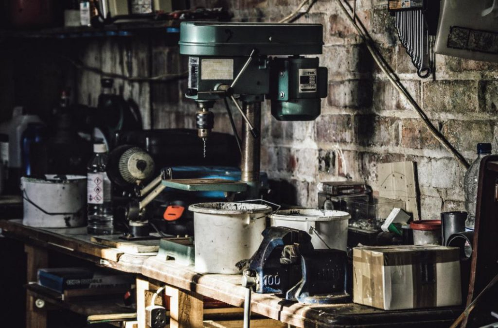Workbench With Tools In A Garage