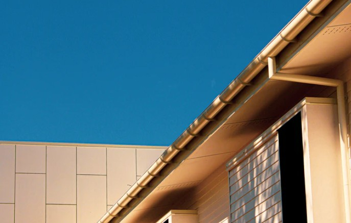 Biege Building With Guttering