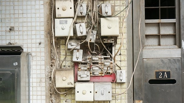Various Electric Elements Crammed Closely Together