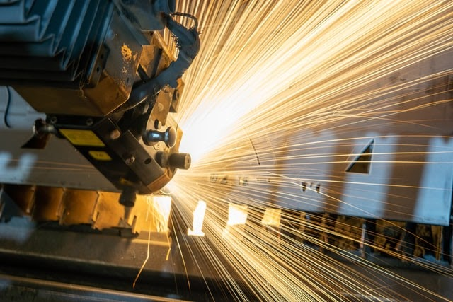 Sparks Emerging From A Machine In A Factory